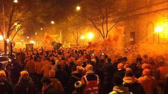 Eintracht-Fans in Bordeaux - ein Traum in Orange (Quelle: D.K.)