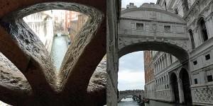Seufzerbrücke - Blick von innen (li.) und außen (Quelle: ruti)