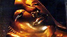 Das freundliche Gesicht des große ruhenden Buddhas im Wat Pho in Bangkok. (Foto: ruti)