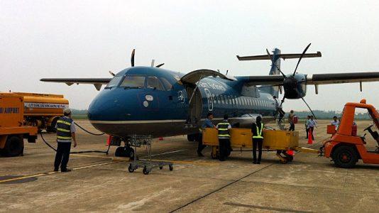 Propellerflugzeug von Vietnam Airlines auf einem Inlandsflug in Vietnam. (Foto: Ruti)