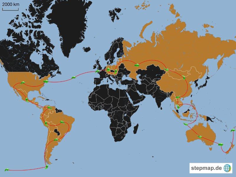 Diese Karte zeigt die geplante Route meiner Weltreise. (Karte: stepmap.de)