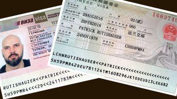 Meine Visa für Russland und China. (Foto: Ruti)