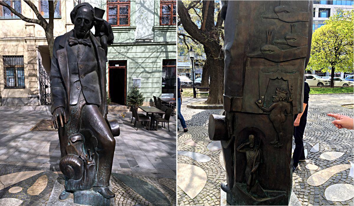 """Für Hans Christian Andersen war Bratislava die schönsten Stadt Europas. Der Märchen-Autor sagte: """"Bratislava selbst ist ein Märchen."""" Als Dank für die Liebe errichtete die Stadt eine Stute von Andersen, die mit Symbolen seiner Geschichten gespickt ist. (Foto: Ruti)"""