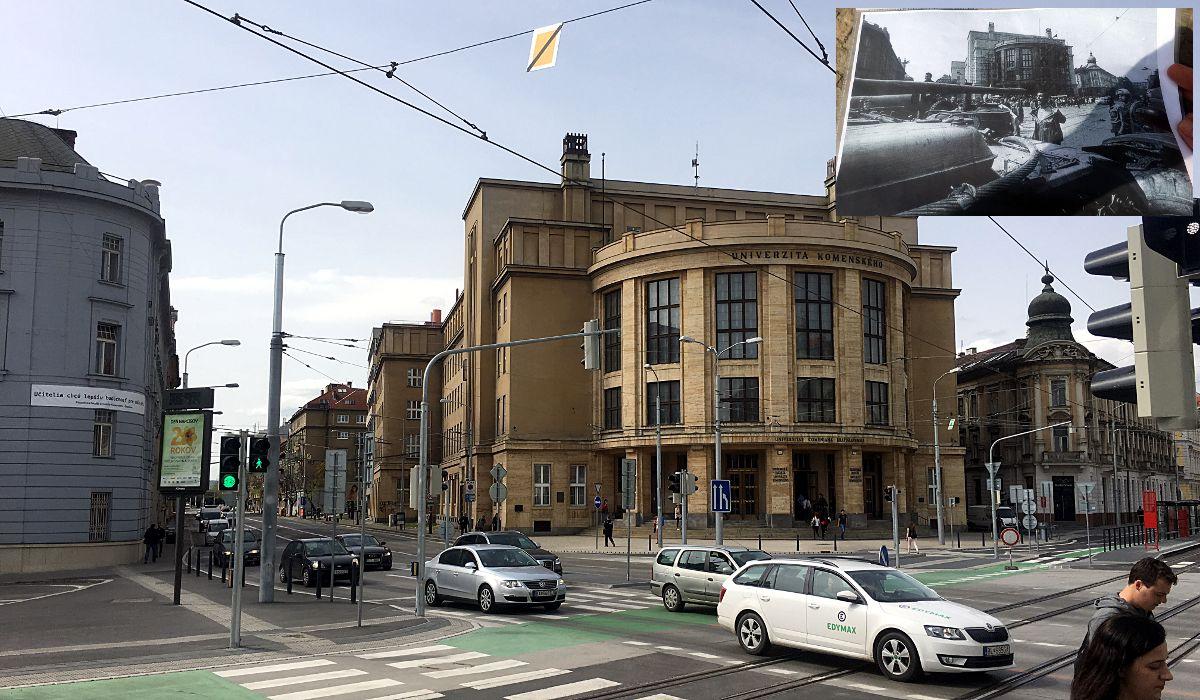 Dies ist ein historischer Ort, denn hier schoss der Sportjournalist Ladislav Bielik das Foto des Prager Frühling, das um die Welt ging (oben links). Der Mann auf dem Foto hatte übrigens nie über seine mutige Aktion gesprochen. Seine Familie erfuhr erst viel später davon. (Foto: Ruti)