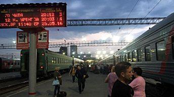 Die transsibirische Eisenbahn bei einem Stopp in Ekaterinenburg. (Foto: Ruti)