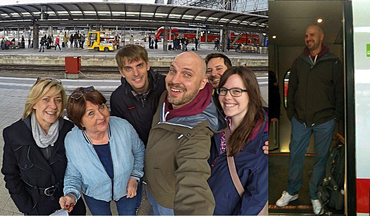 Freunde begleiten mich zum Frankfurter Hauptbahnhof, bevor ich in den Zug nach Wien steige, die erste Station meiner Weltreise. (Montage: Ruti)