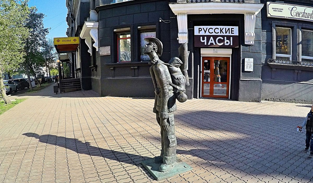 Backpacker-Statue in Irkustk, Sibirien. (Foto: Ruti)