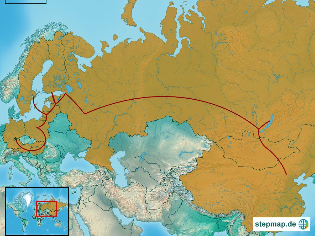 So sieht sie aus, meine Route von Deutschland nach China. (Map: stepmap.de)