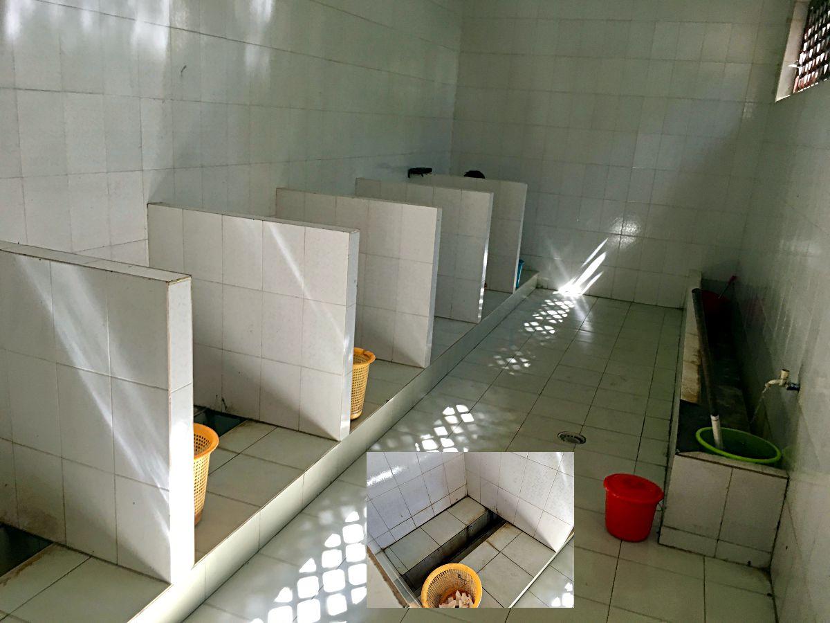 Auf der typisch chinesischen Toilette konnte man den anderem beim Geschäft zusehen. (Foto: Ruti)