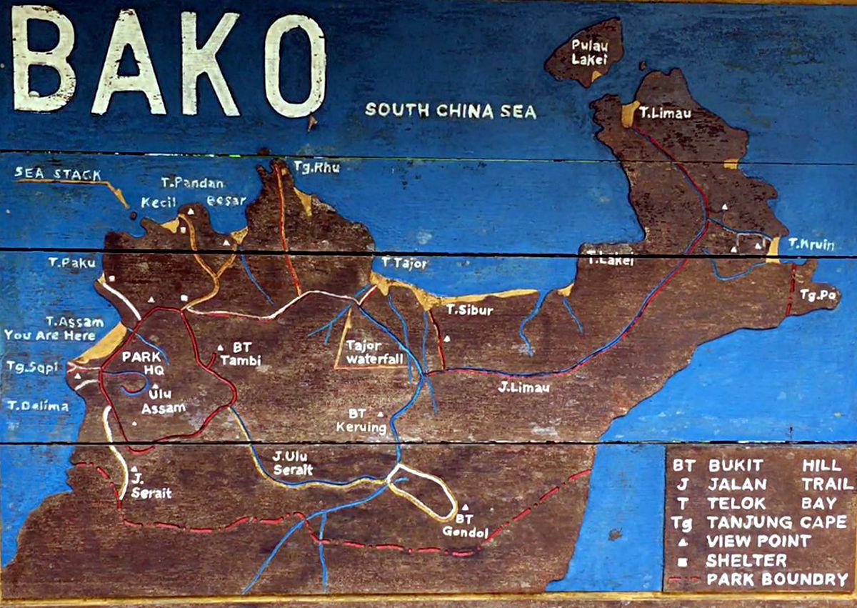 Hier siehst Du die Wanderwege des Bako-Nationalparks auf Borneo. (Foto: Ruti)