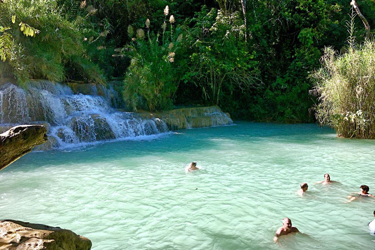 Das ist eines der Becken im Hauptteil der Kuang Si Wasserfälle. (Foto: Ruti)