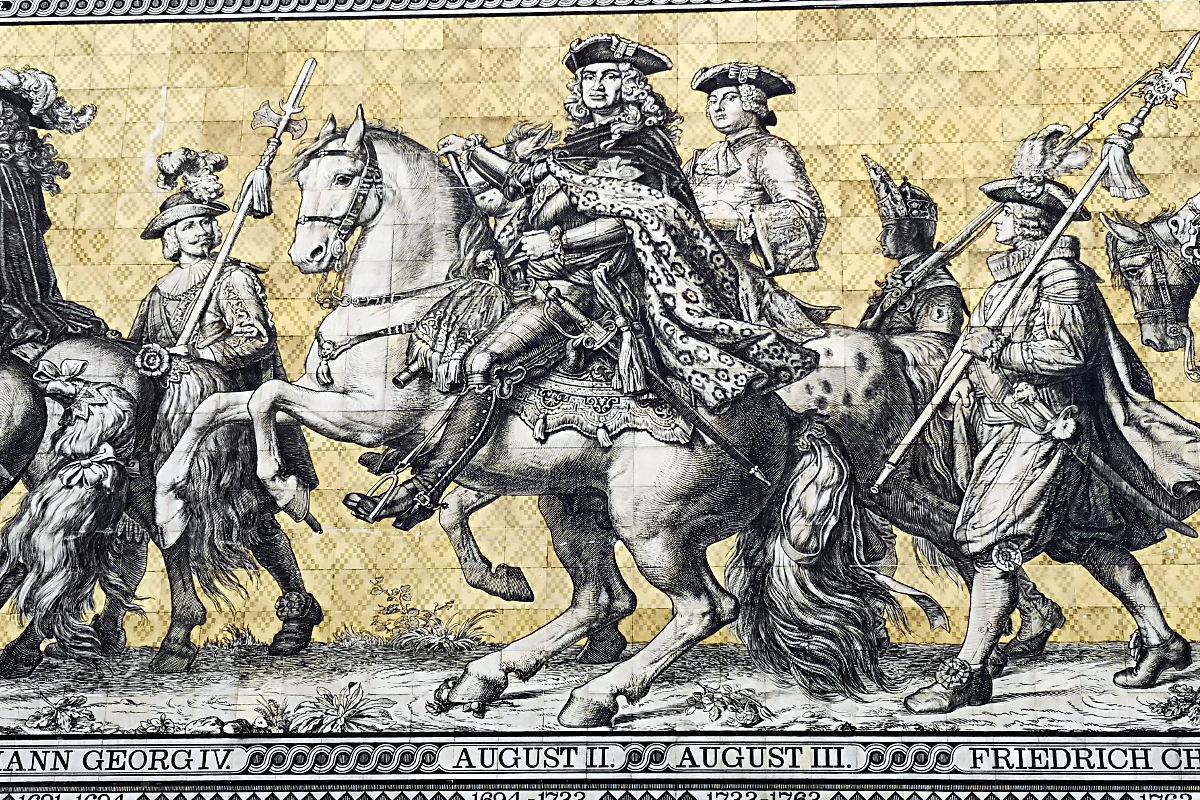 August der Starke im Fürstenzug in Dresden (Foto: Ruti)