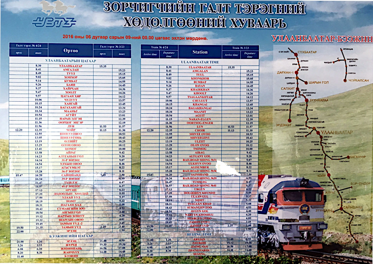 Der Fahrplan der Transmongolischen Eisenbahn (Foto: Ruti)