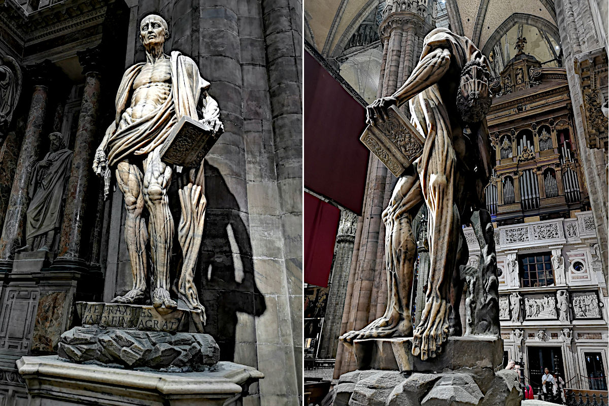 Selten hat mich eine Statue so beeindruckt, wie der lebendig gehäutete Bartholomäus im Mailänder Dom. (Foto: Ruti)
