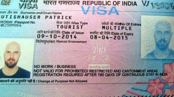 Das Visum für meine erste Indien-Reise (Foto: Ruti)
